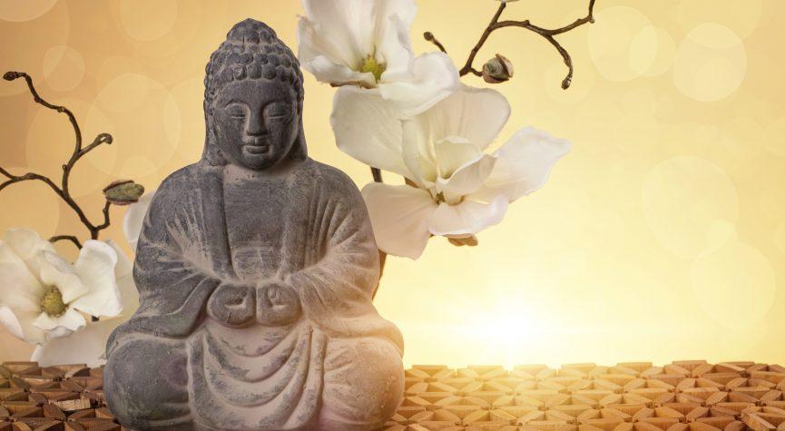 Buddha vor Bluetenzweig